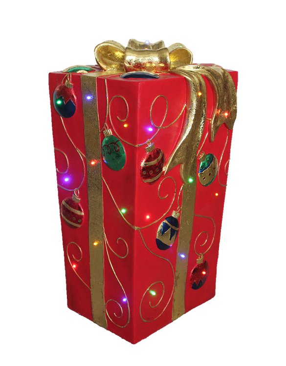 "31"" LED Ornament Gift Box"