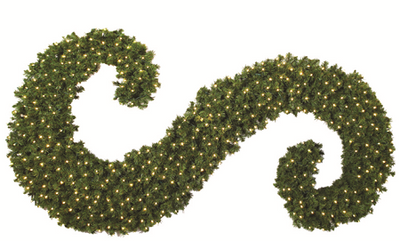 Giant Topiary Scroll with Warm White LED lights 6FT - Right Side