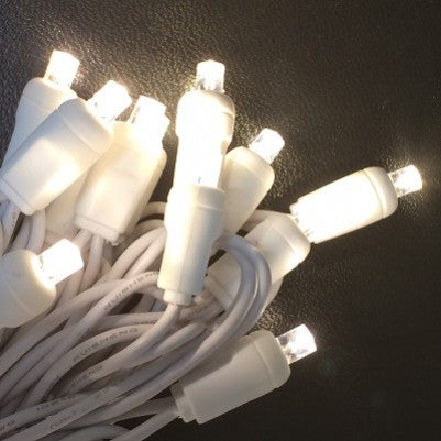 LED Warm White 5mm Wide Angle Mini - White Wire- stringer
