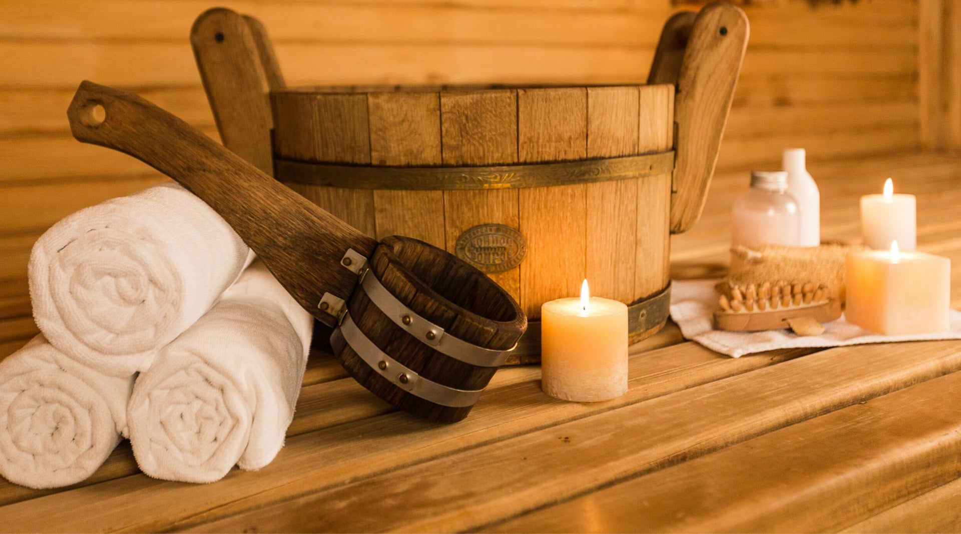 Sauna Kit Including Towels, Bucket and Ladle, Candles, Body Brush and Liquid Soap