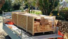 Dundalk sauna crate open on trailer