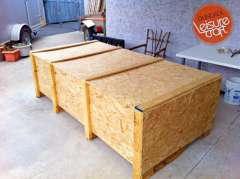 Dundalk sauna shipped in 7/16 inch plywood crate