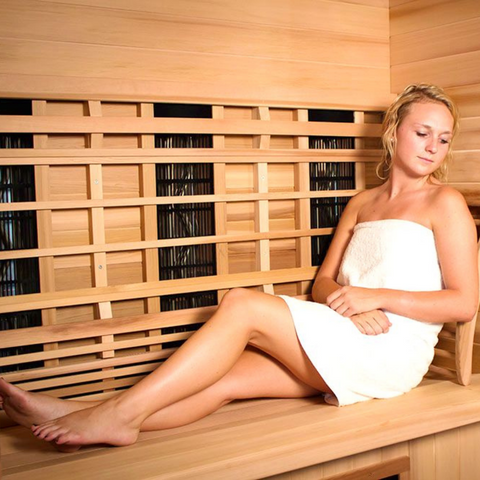 Young Woman Relaxing in Infrared Sauna