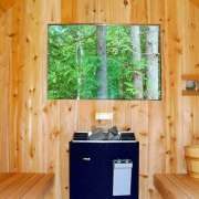 dundalk barrel sauna backwall window knotty wood electric heater