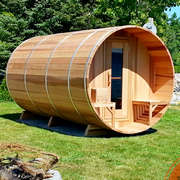 dundalk barrel sauna deluxe clear wood changeroom porch