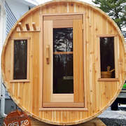 dundalk barrel sauna knotty wood front windows