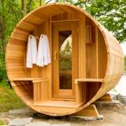 dundalk barrel sauna lounge interior porch clear wood