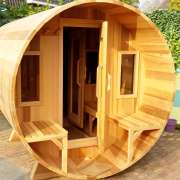 dundalk barrel sauna porch changeroom clear wood