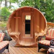 dundalk barrel sauna porch clear wood deck