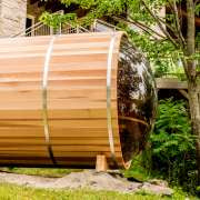 dundalk panoramic barrel sauna clear wood tinted dome