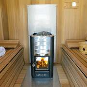 dundalk sauna with harvia heater clear wood signature benches