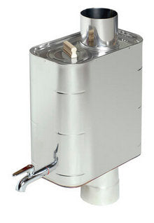 The Harvia smoke pipe water heater is an excellent choice for heating water off the grid!