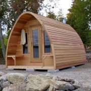porch with clear wood upgrade for dundalk pod sauna