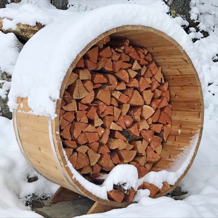 Barrel-Shaped Firewood Storage