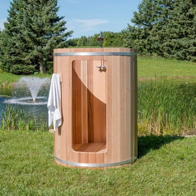 Dundalk Outdoor shower, red cedar, hot and cold water