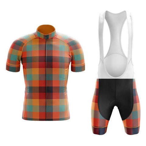 Tartan Orange Green Cycling Jersey Set