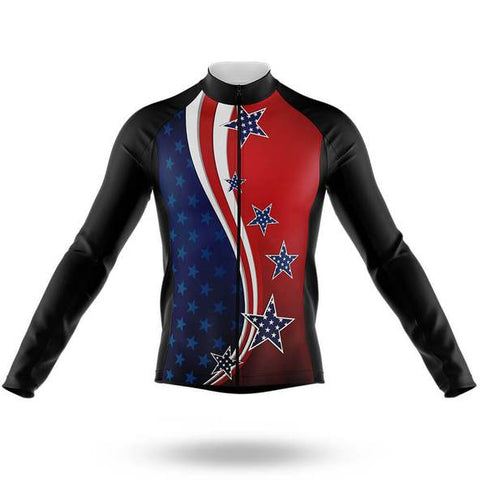 American Flag Long Sleeved Cycling Jersey (with Fleece Option)