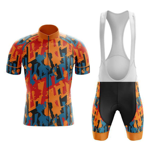 Jazzy Orange Retro Cycling Jersey Set