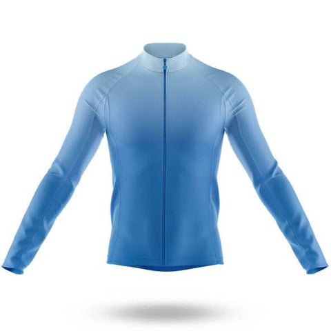 Plain Blue Long Sleeved Cycling Jersey (with Fleece Option)