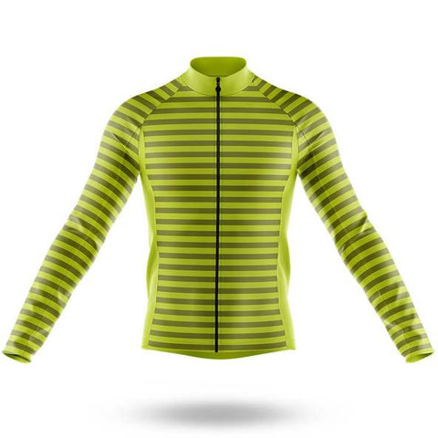 Green Stripes Long Sleeved Cycling Jersey (with Fleece Option)
