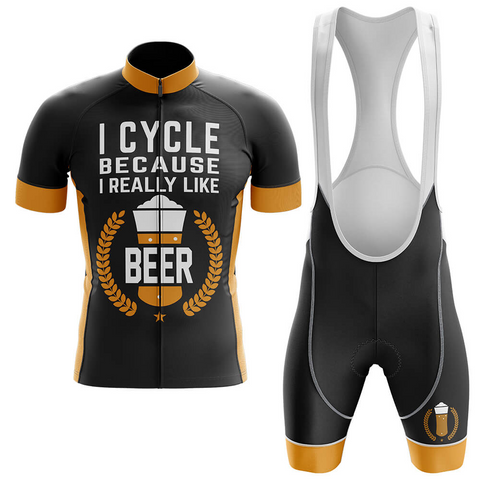 I Cycle Because I Really Like Beer Retro Cycling Jersey Set