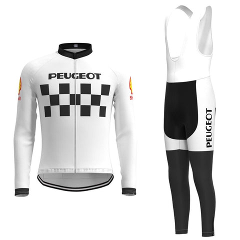 Classic 1960s Peugeot Retro Cycling Jersey Long Set (With Fleece Option)