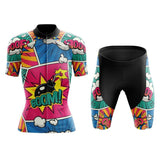 Women's Explosive Comic Book Pink-Green Cycling Jersey Set