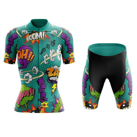 Women's Explosive Comic Book Green Cycling Jersey Set