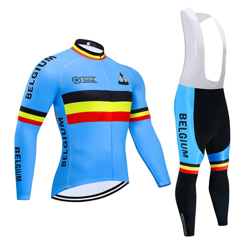 Belgium Cycling Team Retro Cycling Jersey Long Set (With Fleece Option)