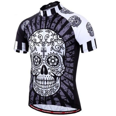 Floral Black & White Skull Cycling Jersey
