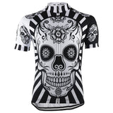 Floral Black and White Skull Cycling Jersey