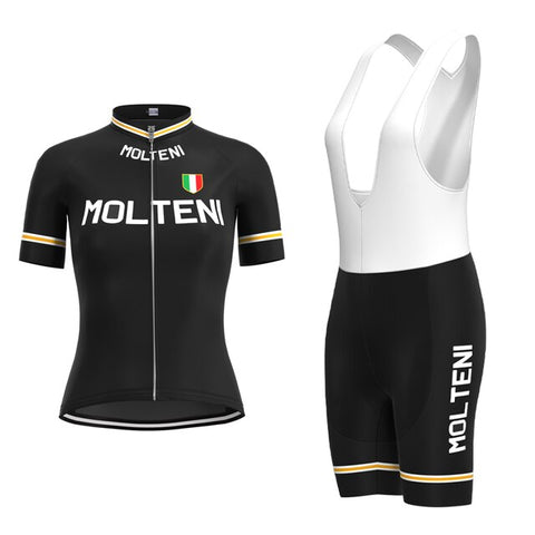 Women's Molteni Black Retro Cycling Jersey Set
