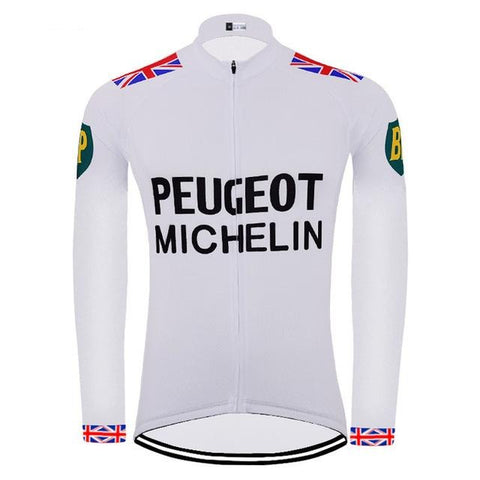 Peugeot BP Michelin Long Sleeve Retro Cycling Jersey (with Fleece Option)