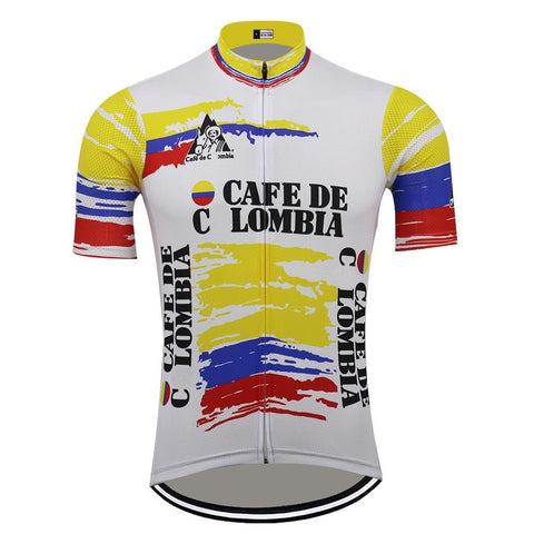 Cafe de Colombia White Retro Cycling Jersey
