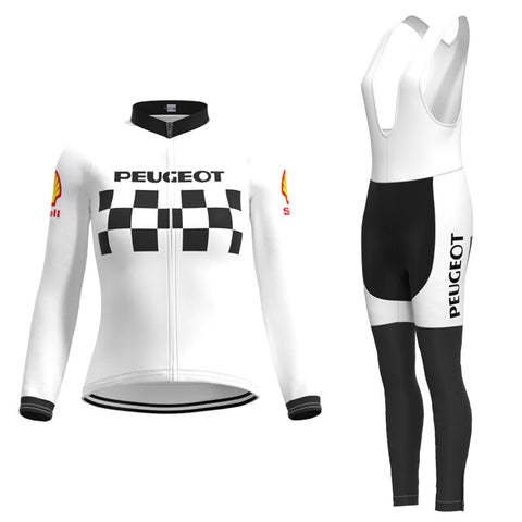 Women's 1960s Peugeot-Shell Retro Cycling Jersey Long Set (with Winter Fleece)