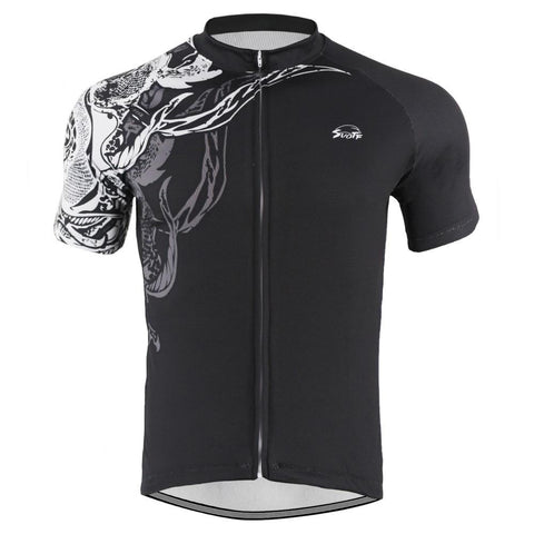 Black and White Pattern Cycling Jersey
