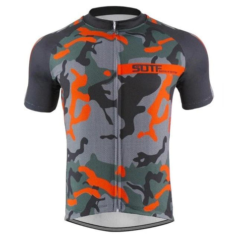 Grey-Orange Camouflage Cycling Jersey