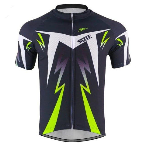 Black-Green-White Lightning Cycling Jersey