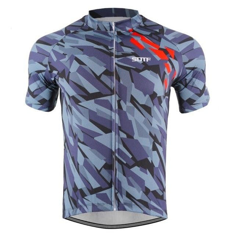 Grey-Green Camouflage Pattern Cycling Jersey