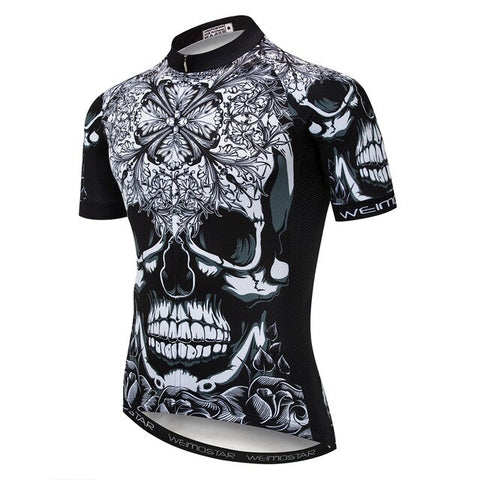Black-White Patterned Skull Cycling Jersey