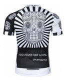 White Skull with Black-White Patterned Body Cycling Jersey