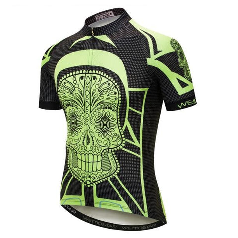 Bright Green and Black Skull Cycling Jersey