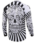 White Skull with Black-White Patterned Body Long Sleeve Cycling Jersey