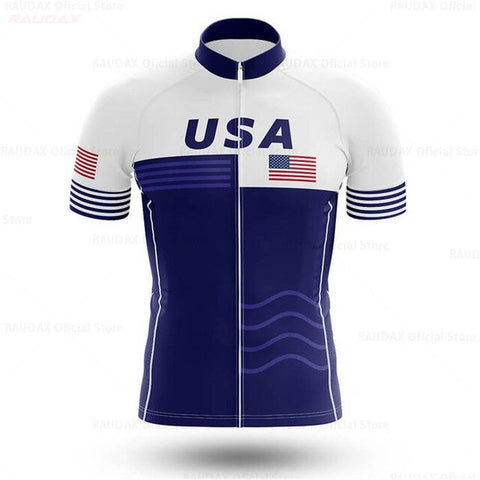 USA Blue White Cycling Team Jersey