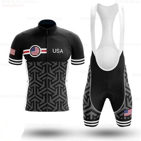 USA Patterned Cycling Team Jersey Set