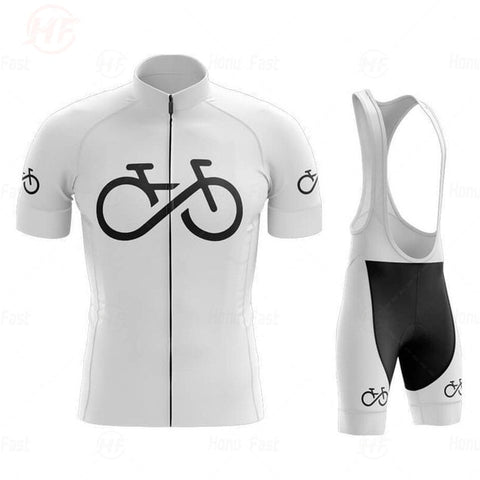 Bike Logo White Cycling Jersey Set