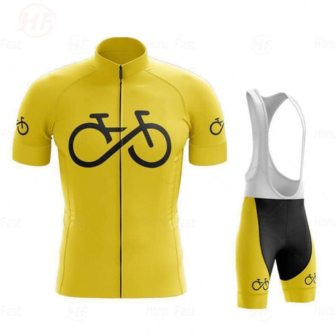 Bike Logo Yellow Cycling Jersey Set