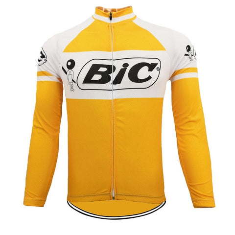 BIC Yellow Long Sleeve Retro Cycling Jersey