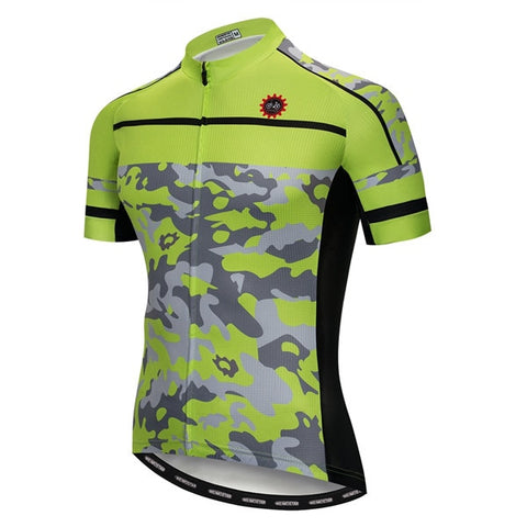 Green Camouflage Cycling Jersey