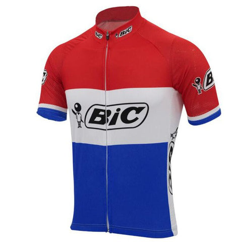 BIC Red-White-Blue Short Sleeve Retro Cycling Jersey